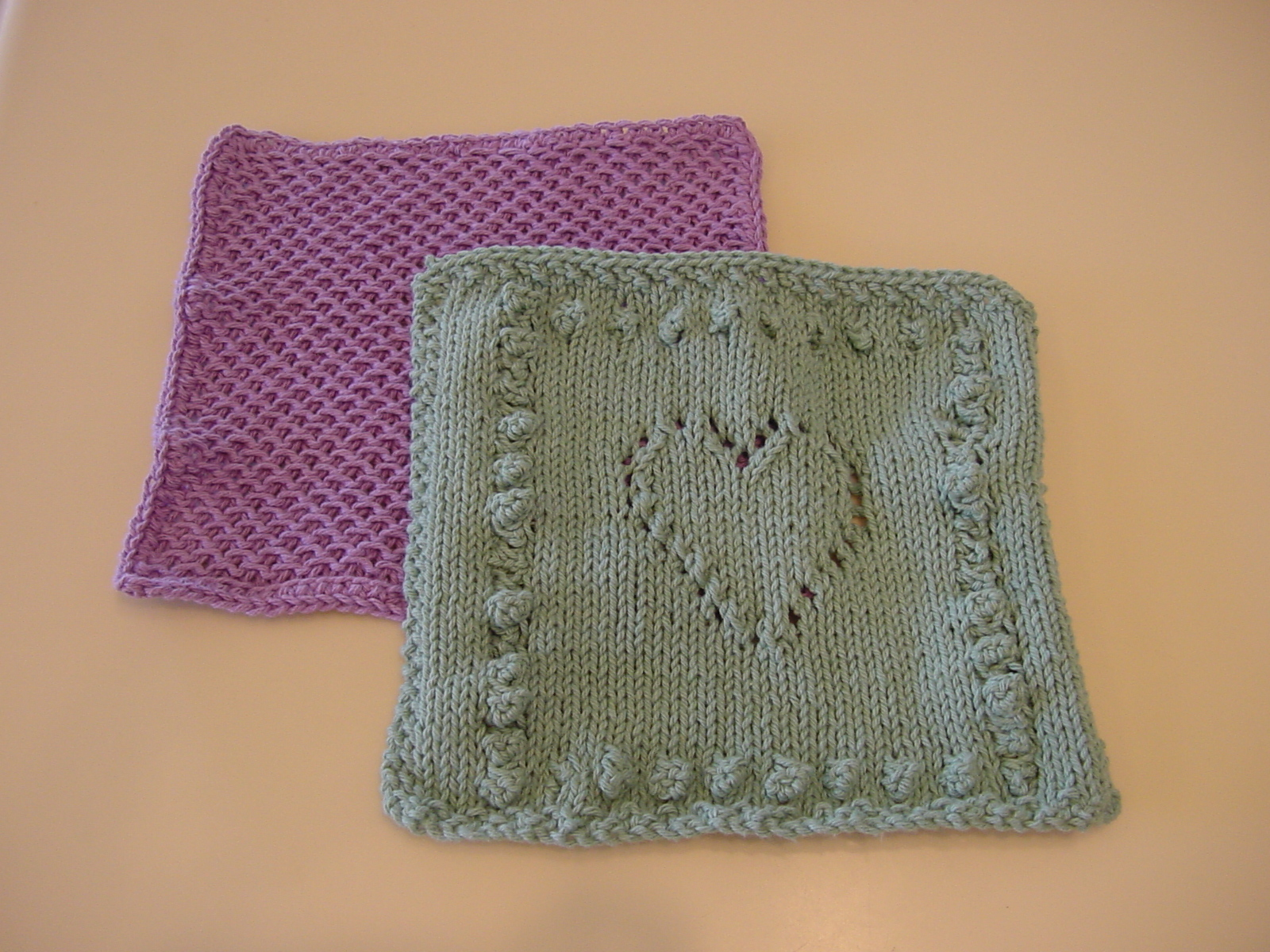purly waffle and sweet heart dishcloths